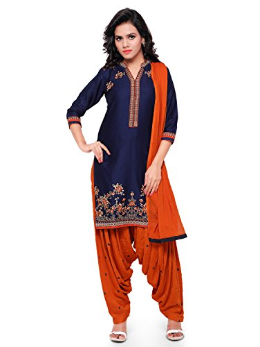 Kvsfab Women\'s Cotton Patiala Salwar Suit (Unstitched Dress Material, Orange & Blue)