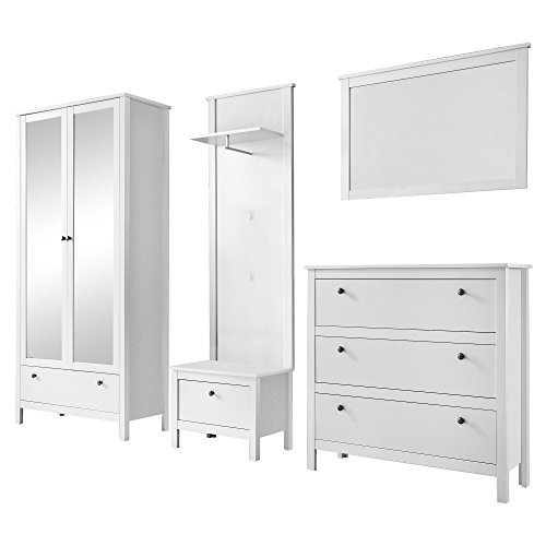 trendteam Garderobe Garderobenkombination 5-teiliges Komplett Set Ole, 268 x 192 x 38 cm in Weiß mit viel Stauraum
