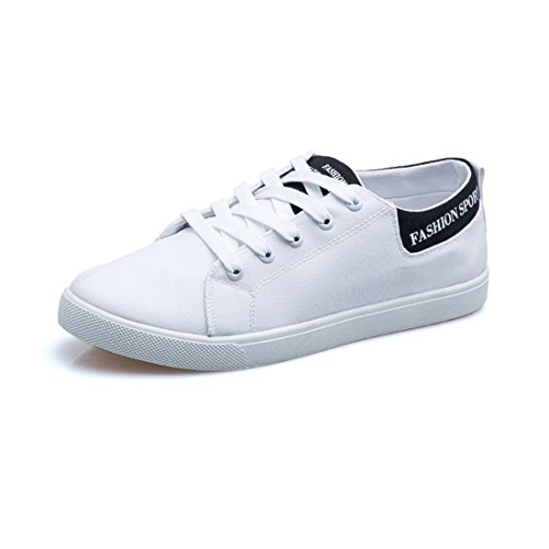 Men's Breathable Popular Flat Lace Up Walking Shoes white