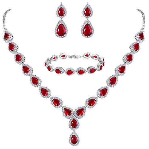 Clearine Damen Hochzeit Braut Tropfen CZ Unendlichekeit Figur 8 Y-Halskette Tennis Armband Dangle Ohrringe Set Rubin Rot Silber-Ton