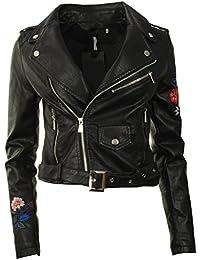 GG Neuer Frauen-Leder PU gestickter Biker Zip Crop Damen-Jacken-Mantel