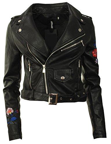 GG Neuer Frauen-Leder PU gestickter Biker Zip Crop Damen-Jacken-Mantel (Belted Damen Reißverschluss Leder Jacke)