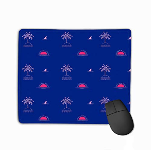 Gaming Mouse Pad Custom, Personality Desings Gaming Mouse Pad 11.81 X 9.84 Inch Bright Summer Tropical Palm Tree Island Wave Sun Beach fin Shark Repeat Design Fashion Fabric -