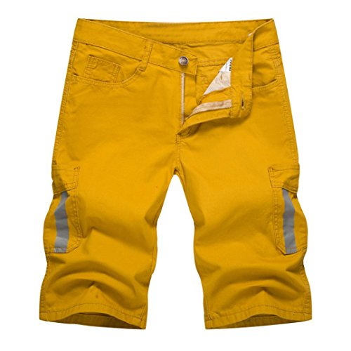 Herren Shorts Hose Xinantime Enim Arbeit Fracht Pocket Pants Overalls Kurze Hose Männer Schwarz/Weiß/Khaki/Grün/Gelb M-XXL (M, Gelb) -