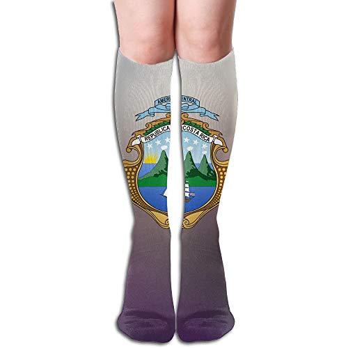 Dnim Coat of Arms of Costa Rica Design Elastic Blend Long Socks Compression Knee High Socks for Sports