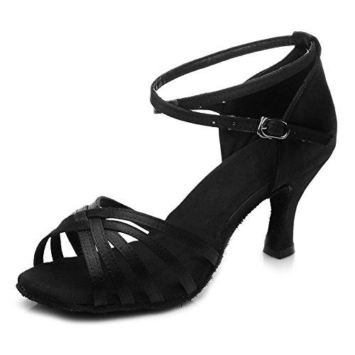 HIPPOSEUS Salle de bal Chaussures de danse/Standard Chuaussures de danse latines en satin pour Femmes & Filles,FR213-7,Noir color,EU 37