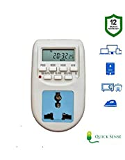 Quick sense (Qs-T1) : 230 Volt (24x7) Digital Programmable Timer Electronic Timer/Energy Saving Socket Type with 12 Months Warranty- Best for Mobile Charging, Lightning Control, Laptop Charging etc