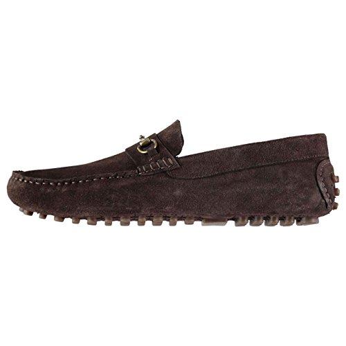 Firetrap Herren Monteiro Mokassins Leder Schuhe Slipper Halbschuhe Metall Detail Braun