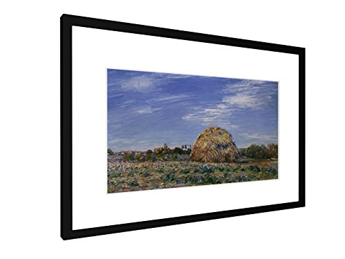 Alfred Sisley - Heuschober am Ufer des Loing - 60x40 cm - Bild mit Rahmen / Gerahmtes Poster - Kunstdruck - Wandbild - Kunst, Gemälde, Foto, Bild - Alte Meister / Museum (Landwirtschaft Gerahmte Kunst)
