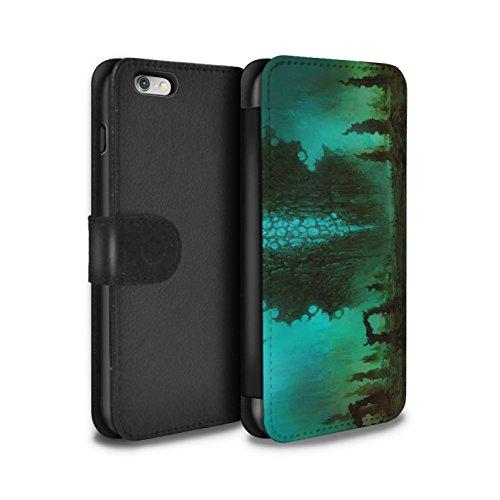 Offiziell Chris Cold PU-Leder Hülle/Case/Tasche/Cover für Apple iPhone 6+/Plus 5.5 / Pack 12pcs Muster / Fremden Welt Kosmos Kollektion Alien Landschaft