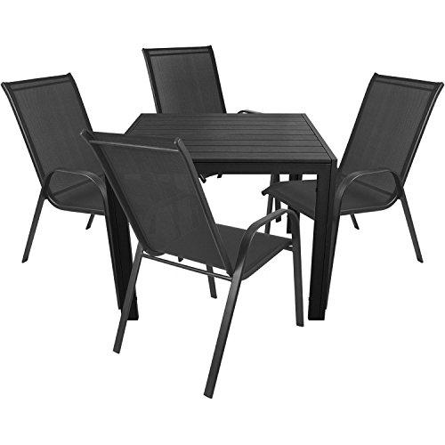 Wohaga 5tlg. Bistrogarnitur 4X Stapelstuhl stapelbar mit Textilenbespannung + Aluminium Gartentisch mit Polywood Tischplatte 90x90cm/Gartenmöbel Balkonmöbel Sitzgruppe Sitzgarnitur