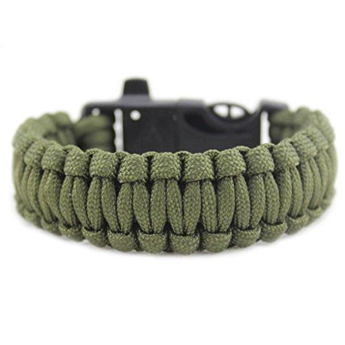 Bluestercool Rettung Seil Feuerstein Feuer Starter Überleben Ausrüstung Outdoor-Armband (Armee-grün) (Armee-feuer-starter)