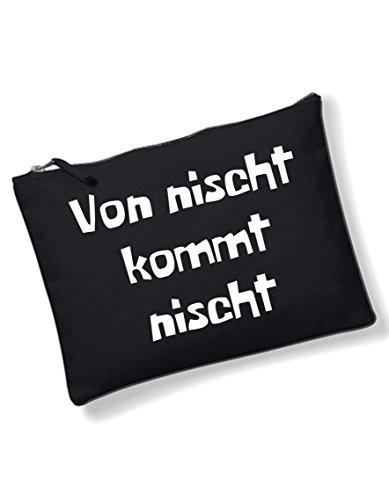 oolem Spruch von nischt / Kulturbeutel mit verschiedene Sprüche auswählbar von SPREE Klamotte / Schwarz / Tasche / Handtasche / Waschtasche / Schminktasche (Mädchen Klamotten Shoppen)