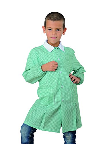 Grembiule pollicino isacco per asilo e scuola materna 3-6 anni (3 anni, quadretto verde)