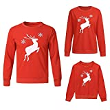 Weihnachten Familie Pyjamas Outfit Schlafanzug Nachtwäsche Damen Herren Baby Säugling Family Kleidung Zuhause Matching Set Xmas, Mama Me Kid Deer Cartoon Tops Sweatshirt (Dad,X-Large)