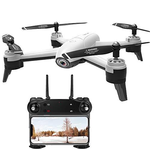 FPV RC Drone, 1920 * 1080P HD Quadro per Macchina Fotografica Grandangolare Wi-Fi, modalità Senza Testa, Una Chiave di Decollo/Atterraggio, Punto Fisso Surround, Smart Follow, Altitude Hold,White