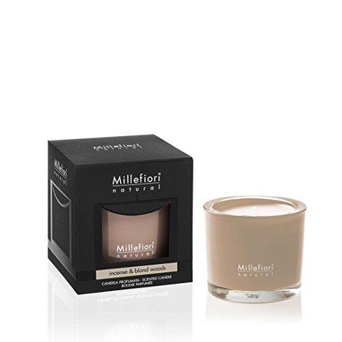 Millefiori Milano - Vela perfumada en Vaso de Cristal de Colores, Aroma de Incienso y Madera Rubia,...