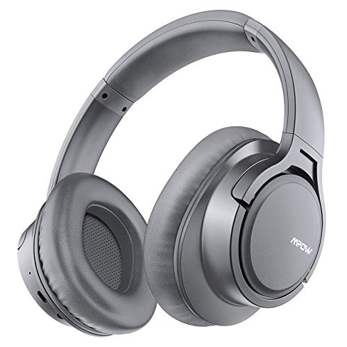Mpow H7 Cascos Bluetooth Inalámbrico, Auriculares Bluetooth de Diadema, 18hrs de Duración de la Batería, Auriculares Inalámbricos Cerrados con Micrófono, Audífono para Moviles, TV, PC, Gris