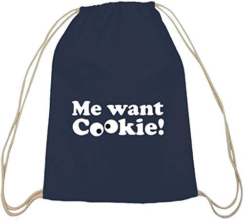 Shirtstreet24, Voglio I Cookie! Cotone Natura Zaino Borsa Sportiva Borsa Blu Scuro Natura