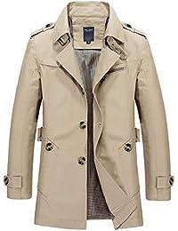 Caidi Trench Manteau Court Boutonné Caban Trench Coat Veste à Manche Longue  Slim Fit pour Automne c9eb583e9cf6
