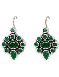 Silverwala 925 Sterling Silver Emerald Stone Dangle & Drop Earrings For Women
