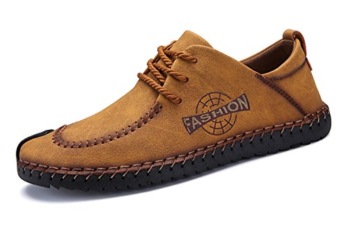 Brand Men's Loafers Moccasins Slip on Shoes Men Casual Shoe Genuine Leather Driving Boat Flats Shoes Sneaker Oxford Men Big Size 9081Yellow 7