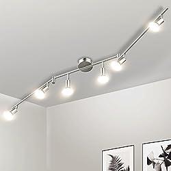 Gr4tec Lámpara de techo LED Plafón con Focos Giratorios Lámpara de salón 6x Spot Bombillas GU10 Bajo consumo 4W 230V 2800K Blanco cálido 400lm 82Ra IP20 Níquel Mate