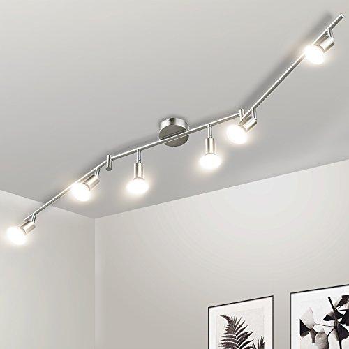 Foto de Gr4tec Lámpara de techo LED Plafón con Focos Giratorios Lámpara de salón 6x Spot Bombillas GU10 Bajo consumo 4W 230V 2800K Blanco cálido 400lm 82Ra IP20 Níquel Mate