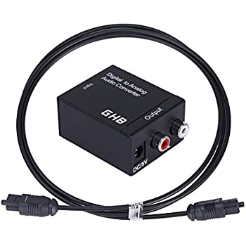 GHB Digital Optical Coaxial Toslink to Analogue Stereo Audio L/R Converter DAC with Power Adaptor and Optical Cable for PS3 XBox HDTV Blu-ray DVD Sky HD