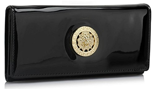 - 41o1Yv2hMoL - Ladies Women's Fashion Designer Celebrity Patent Purse Wallet With Metal Detail Clutch CWP1058 CWP1059 (CWP1059-Black)