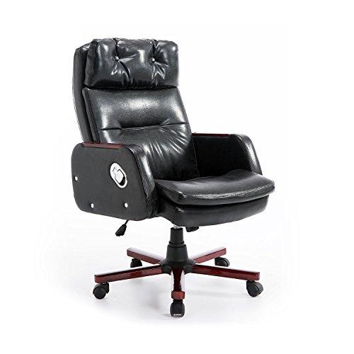 HOMCOM PU Leather Luxury Executive Swivel Office Chair Adjustable Armrest Computer Desk Reclining Arm Seat Gas Lift (Black)