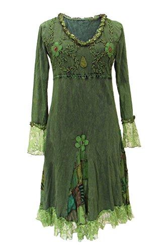 (Dark Dreams Gothic Witchy Pagan Elfe Goa Psy Ethno Nepal Kleid bestickt Spitze Fairydae Witchy Dress S M L XL XXL, Farbe:grün, Größe:S/M)