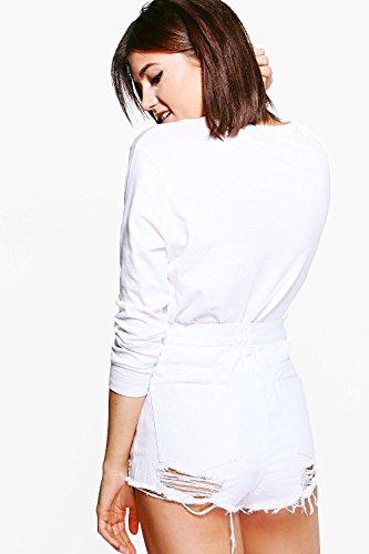 blanc Femmes Carla Short En Jean Très Déchiré Blanc