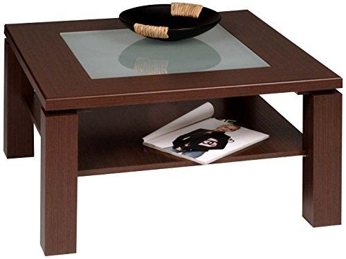 Alfa-tische m2074 - tavolino basso roma, 65 x 65 cm, in rovere con motivo decorativo milano, forma quadrata, con inserto in vetro, marrone scuro