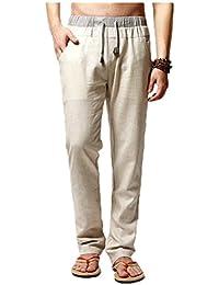 Homme Pantalon de Loisir en Lin Confortable Respirant Taille Elastique Cordon de Serrage