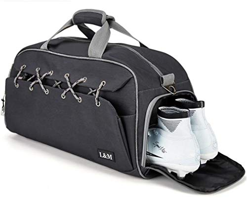 Mkangheting Travel Handbag with Shoes Pocket Luggage Travel Bag Large Capacity Male Female Portable Multi-Functional Travel Bag Black