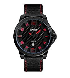 Skmei Elegant Design Analog Sports series Genuine Leather Watch -9150 Red
