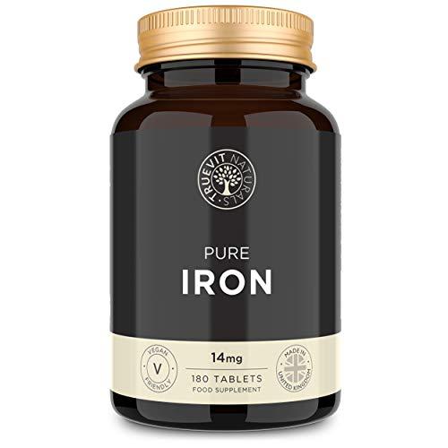 Eisentabletten 14mg - 180 Eisen Tabletten - Veganes Eisenpräparat gegen Eisenmangel, Müdigkeit und Erschöpfung - Großer Tagesrations-Vorrat für SECHS Monate