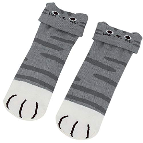 Junlinto 1 Paar Frauen Frühling Lange Socken Kleine Katze Ohr Cartoon Tier Schöne Lustige Baumwolle Grau