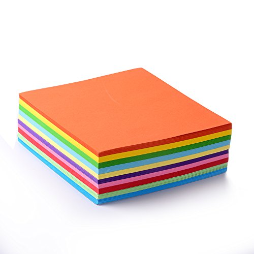 Foto de Papel plegable, 500hojas, 15x 15cm, 70g/m², 10colores–Multicolor, alta calidad, hojas para origami y manualidades