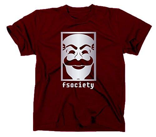 Fsociety T Shirt, Evil Corp Corporation, Hacker, anonymous, XL, maroon
