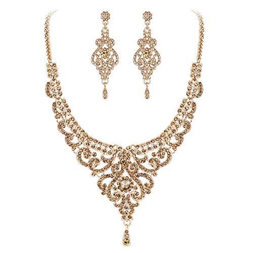 Flyonce Damen Kristall Hochzeit Luxus Braut Vase Blume Halskette Ohrringe Set Braun Gold-Ton