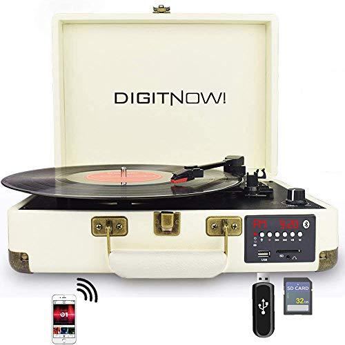 DIGITNOW! Bluetooth Platine Vinyle ,Retro LP Platine 3 Vitesse avec Haut-parleurs Intégrés,Portable Tourne-Disque Vinyle à MP3 Convertisseur , Codage SD / USB et Radio