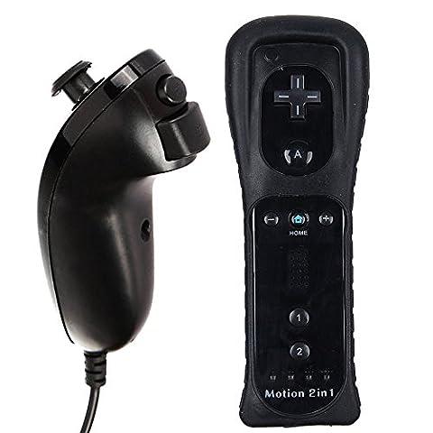 AMO® Motion Plus Black Remote Controller Nunchuk Controller For Nintendo Wii Remote WII + FREE SILICONE