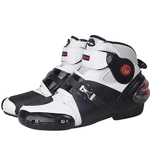 Stivali da Moto, Slittata Stivali da Motocross, Impermeabile Scarpe da Moto, Quattro Stagioni Marche Popolari Stivali da Viaggio per Moto,White-41
