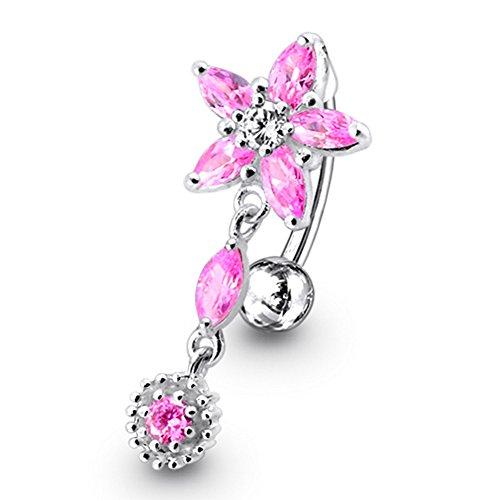 Rosa Kristall Stein trendigen Flower Design Sterling Silber Bauch Bars Piercing
