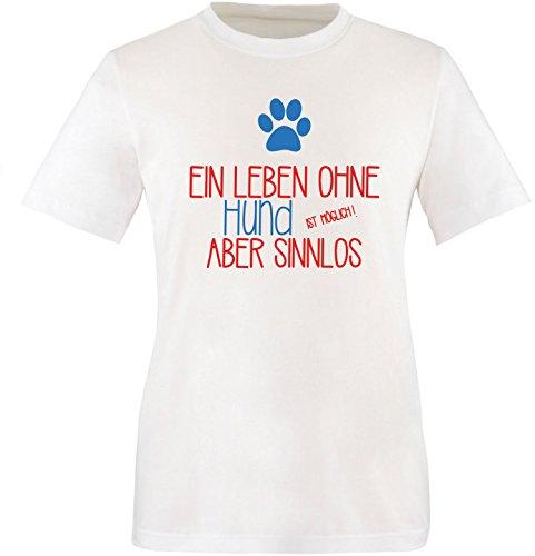 EZYshirt® Ein Leben ohne Hund ist möglich ! Aber sinnlos Herren Rundhals T-Shirt Weiss/Rot/Blau