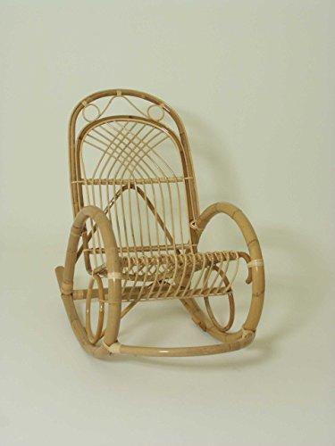 Chaise à bascule en rotin, Cosette. , Siège tressé tissé à la main et le dossier.
