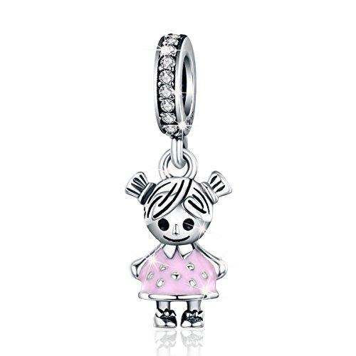 (925 Sterling Silber Paar Familie Kleines Mädchen Anhänger Charms Bead für Armband Halskette Schmuck)