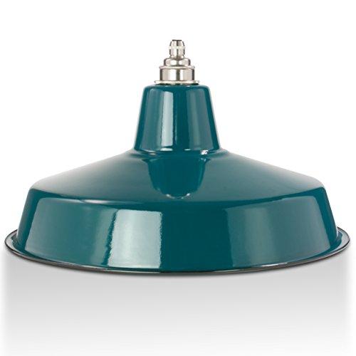 Industrie-Lampenschirm aus Emaille, Petrol-Blau | Fabriklampe 36 cm, inkl. Fassung aus Messing, Nickel | 2. Wahl (Emaille Leuchten)